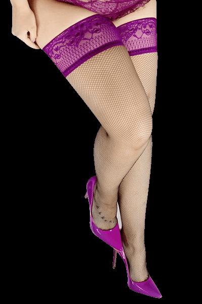 halterlose Netzstrümpfe mit lila Spitze Plus Size