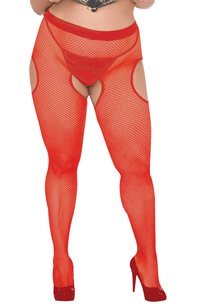 Netzstrumpfhose Ouvert in Rot Plus Size
