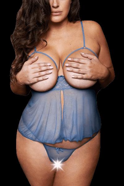 Babydoll blau ouvert Plus Size