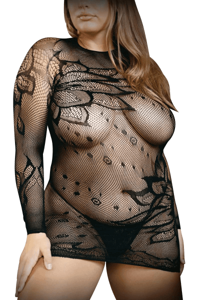 Netzkleid langärmlig mit Mustern Plus Size