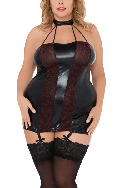 Wetlook Strapskleid Plus Size