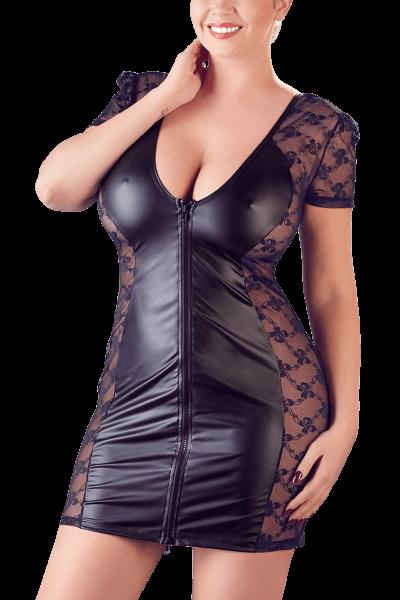 Wetlook Kleid mit Spitze Plus Size