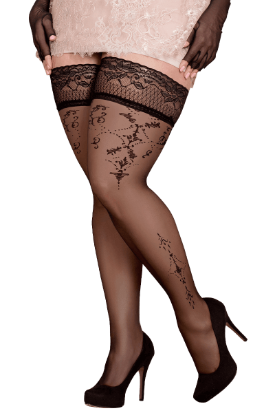 Plus Size Stockings halterlos mit Mustern 20DEN