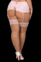 Strapsstrümpfe mit rosa Spitze Plus Size
