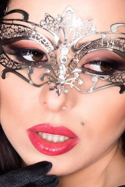 Silberne Damen Maske - Messing